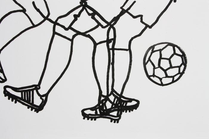Detalle. Fútbol. Serigrafía. Exposición Fútbol de Eloy Arribas en Ora Labora Studio.