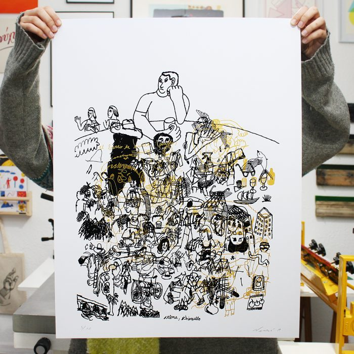Juan Narowé. Calma chiquillo. Las Mesas. Edición y comisariado por Ora Labora Studio. Serigrafía.