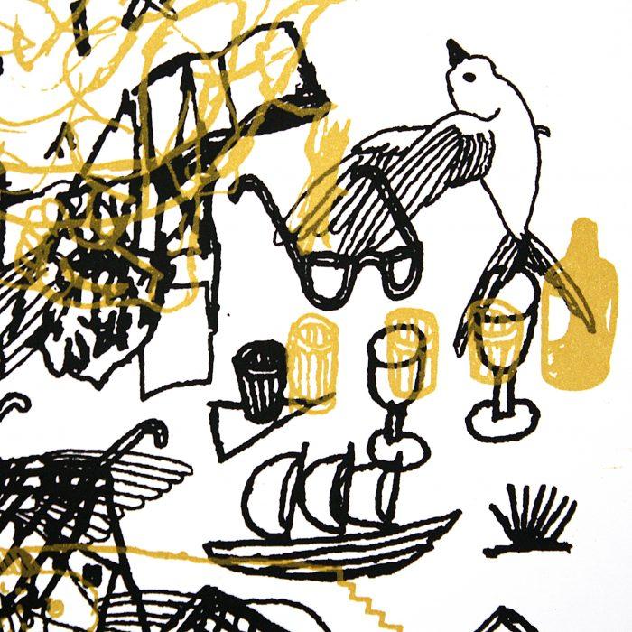 Detalle serigrafía dorada. Juan Narowé. Las mesas.